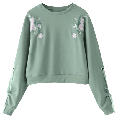 Floral Embroidered Bow Tied Sleeve SweatshirtSweatshirts &amp; Hoodies<br>Floral Embroidered Bow Tied Sleeve Sweatshirt<br><br>Clothing Style: Sweatshirt<br>Material: Cotton, Polyester<br>Package Contents: 1 x Sweatshirt<br>Pattern Style: Floral<br>Shirt Length: Regular<br>Sleeve Length: Full<br>Weight: 0.4700kg