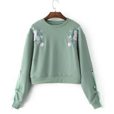 Floral Embroidered Bow Tied Sleeve Sweatshirt