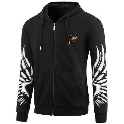 Zip Up Wings Print Plus Size Hoodie