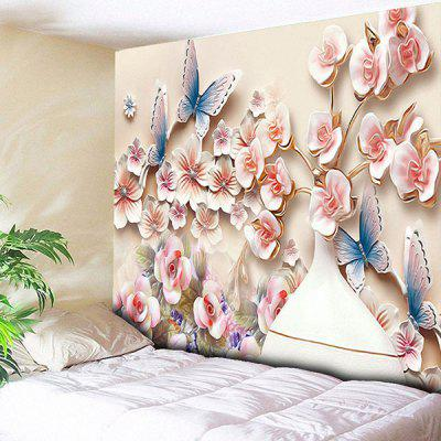 Buy PINK Wall Hanging Butterfly Flower Print Tapestry for $14.81 in GearBest store