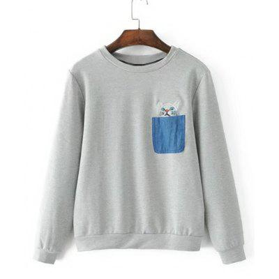 Cat Embroidered Contrasting Pockets Sweatshirt