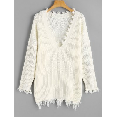 Buy WHITE V Neck Frayed Oversized Sweater for $22.78 in GearBest store