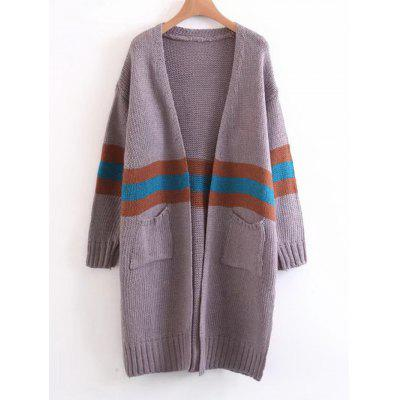 Contrasting Striped Open Front Cardigan