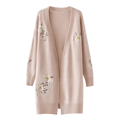 Floral Embroidered Open Front Loose CardiganSweaters &amp; Cardigans<br>Floral Embroidered Open Front Loose Cardigan<br><br>Collar: Collarless<br>Material: Acrylic, Cotton, Polyester<br>Package Contents: 1 x Cardigan<br>Pattern Type: Floral<br>Sleeve Length: Full<br>Style: Fashion<br>Type: Cardigans<br>Weight: 0.7800kg