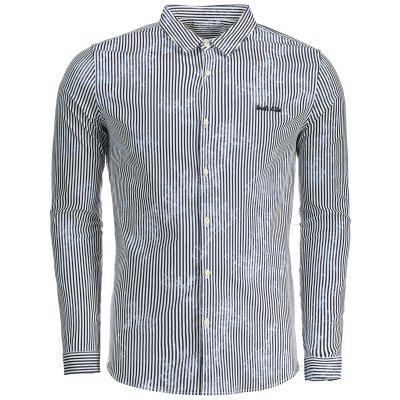Buy BLUE XL Pinstripe Button Up Mens Shirt for $27.54 in GearBest store