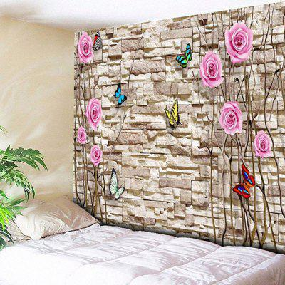 Buy COLORMIX Brick Wall Art Butterfly Flower Print Tapestry for $21.40 in GearBest store