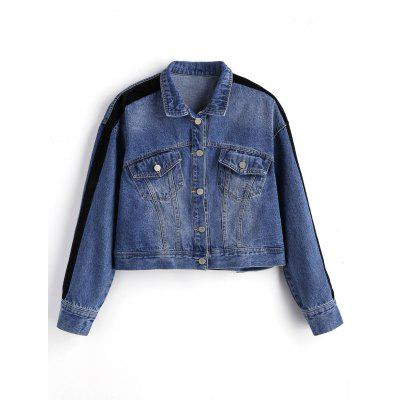 Ribbons Trim Denim Jacket