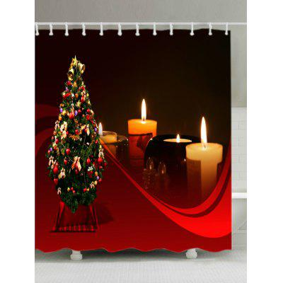 Christmas Tree Candles Print Fabric Waterproof Bathroom Shower Curtain