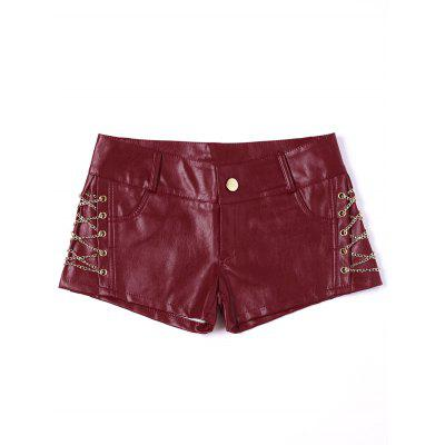 Metal Lace Up Faux Leather Shorts