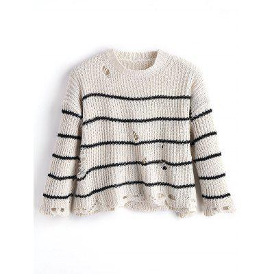 Distressed Stripes Oversized Sweater