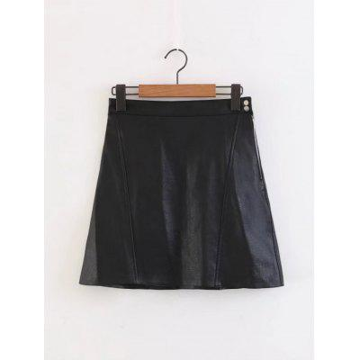 Faux Leather Side Zip A Line Mini Skirt