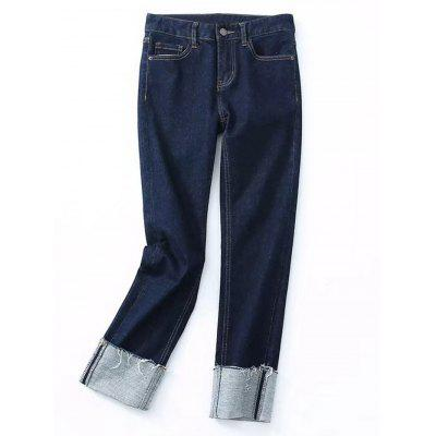 Buy DENIM BLUE S Rolled Cuff Frayed Skinny Pencil Jeans for $32.45 in GearBest store