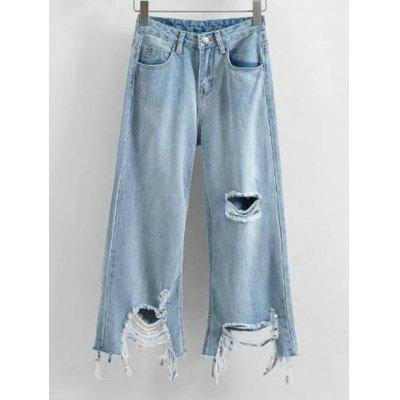 Buy LIGHT BLUE S Distressed Frayed Hem Wide Leg Jeans for $31.66 in GearBest store
