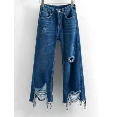 Buy DEEP BLUE L Distressed Frayed Hem Wide Leg Jeans for $31.66 in GearBest store