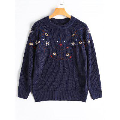 Floral Embroidered Raglan Sleeve Chunky Sweater