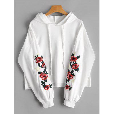Drop Shoulder Floral Star Embroidered Patch Hoodie