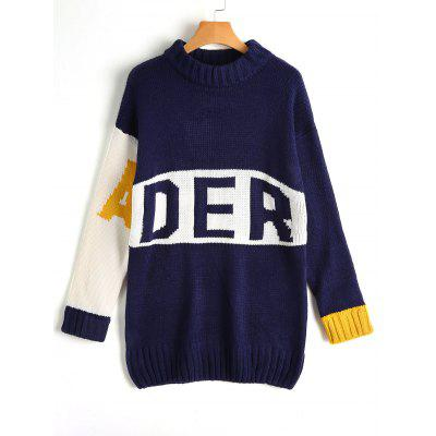Contrasting Letter Loose Sweater