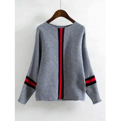 Batwing Contrasting Stripes Loose Sweater