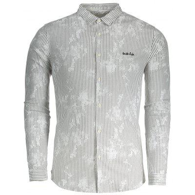 Buy GRAY 3XL Pinstripe Button Up Mens Shirt for $27.54 in GearBest store