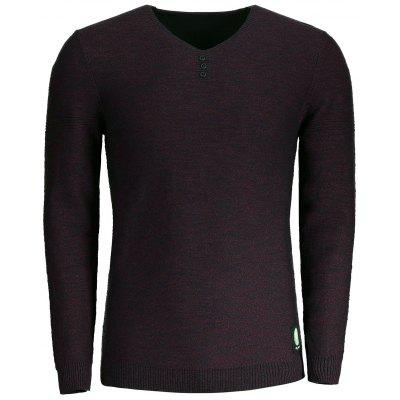 V Neck Heathered Mens Sweater