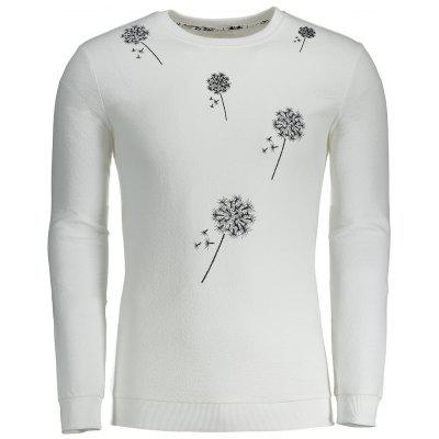 Dandelion Embroidered Mens Sweatshirt