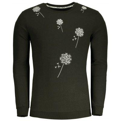 Buy ARMY GREEN 3XL Dandelion Embroidered Mens Sweatshirt for $35.59 in GearBest store