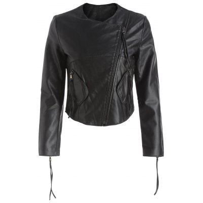 Zipper Fly Faux Leather Jacket