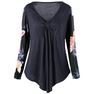 Buy DEEP GRAY 2XL Plus Size Floral Print Empire Waist Tunic T-shirt for $18.50 in GearBest store