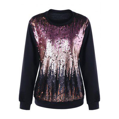 Plus Size Felpa Ombre Sequined Felpa