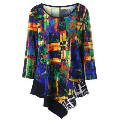 Plus Size Graphic Asymmetric Tunic Top