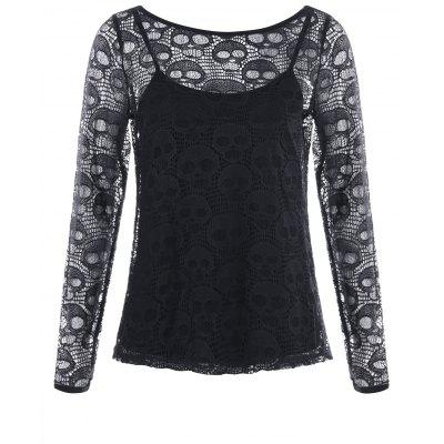 Halloween Hollow Out Skull Blouse with Cami Top