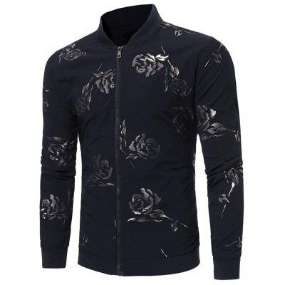 Buy BLACK S Zip Up Rose Print Casual Jacket for $44.02 in GearBest store