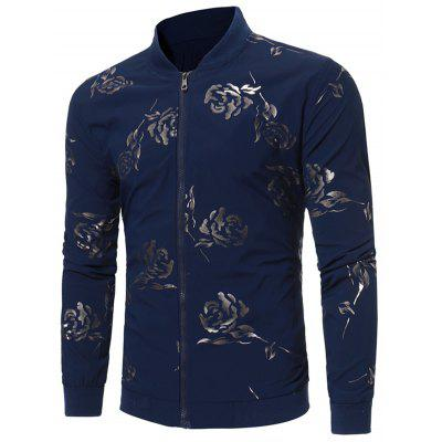 Buy PURPLISH BLUE L Zip Up Rose Print Casual Jacket for $44.02 in GearBest store