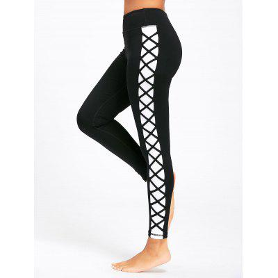 Contrast Side Criss Cross Yoga Leggings