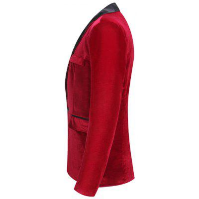 One Button Flap Poclet Velveteen BlazerMens Blazers<br>One Button Flap Poclet Velveteen Blazer<br><br>Closure Type: Single Breasted<br>Material: Polyester<br>Package Contents: 1 x Blazer<br>Shirt Length: Regular<br>Sleeve Length: Long Sleeves<br>Weight: 0.6100kg