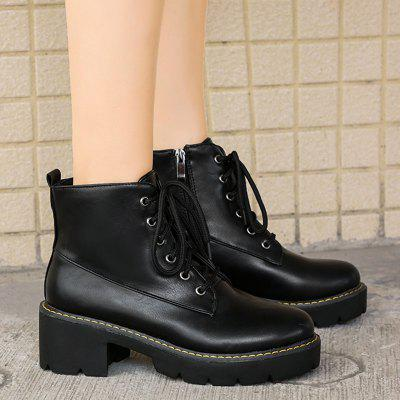 Lace Up Platform Ankle BootsWomens Boots<br>Lace Up Platform Ankle Boots<br><br>Boot Height: Ankle<br>Boot Type: Fashion Boots<br>Closure Type: Lace-Up<br>Gender: For Women<br>Heel Height Range: Med(1.75-2.75)<br>Heel Type: Platform<br>Package Contents: 1 x Boots (pair)<br>Pattern Type: Solid<br>Season: Spring/Fall<br>Shoe Width: Medium(B/M)<br>Toe Shape: Round Toe<br>Upper Material: PU<br>Weight: 1.1200kg
