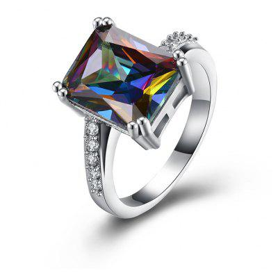 Faux Gemstone Sparkly Geometric Finger Ring