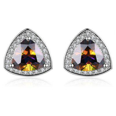 Sparkly Faux Gemstone Triangle Stud Earrings