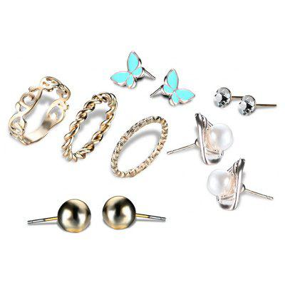 Buy GOLDEN Faux Pearl Butterfly Earring and Ring Set for $2.85 in GearBest store
