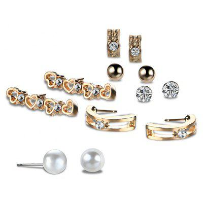Buy GOLDEN Faux Pearl Rhinestone Heart Stud Earring Set for $2.55 in GearBest store