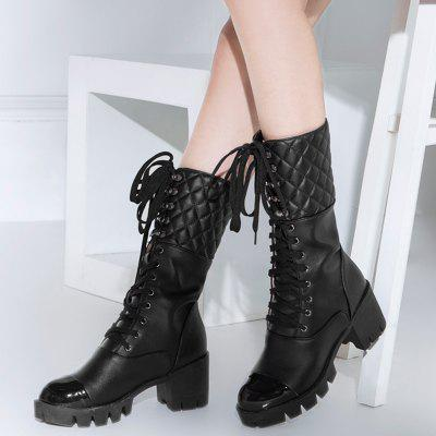 Quilted Eyelet Lace Up Mid Calf BootsWomens Boots<br>Quilted Eyelet Lace Up Mid Calf Boots<br><br>Boot Height: Mid-Calf<br>Boot Type: Fashion Boots<br>Closure Type: Lace-Up<br>Gender: For Women<br>Heel Height Range: High(3-3.99)<br>Heel Type: Platform<br>Package Contents: 1 x Boots (pair)<br>Pattern Type: Solid<br>Season: Spring/Fall<br>Shoe Width: Medium(B/M)<br>Toe Shape: Round Toe<br>Upper Material: PU<br>Weight: 1.3800kg