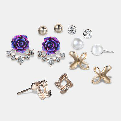 Buy GOLDEN Faux Pearl Rhinestone Flower Tiny Earring Set for $3.67 in GearBest store
