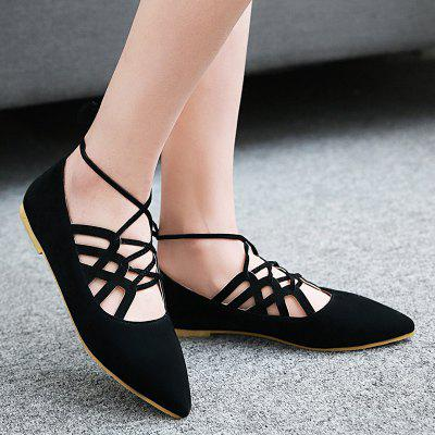 Pointed Toe Hollow Out Flat ShoesPointed Toe Hollow Out Flat Shoes<br><br>Closure Type: Lace-Up<br>Flat Type: Ballet Flats<br>Gender: For Women<br>Heel Height Range: Flat(0-0.5)<br>Occasion: Casual<br>Package Contents: 1 x Flat Shoes (pair)<br>Pattern Type: Solid<br>Season: Spring/Fall<br>Shoe Width: Medium(B/M)<br>Toe Shape: Pointed Toe<br>Toe Style: Closed Toe<br>Upper Material: Suede<br>Weight: 1.0800kg