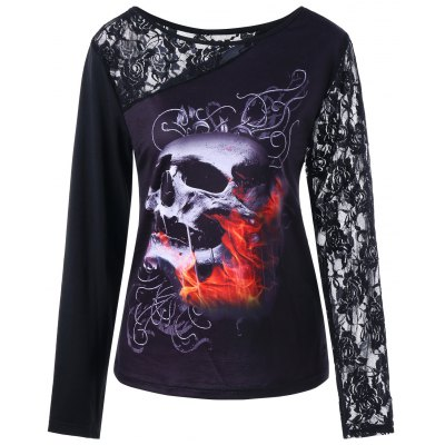 Buy BLACK XL Halloween Long Sleeve Lace Insert Skull Print Top for $17.58 in GearBest store