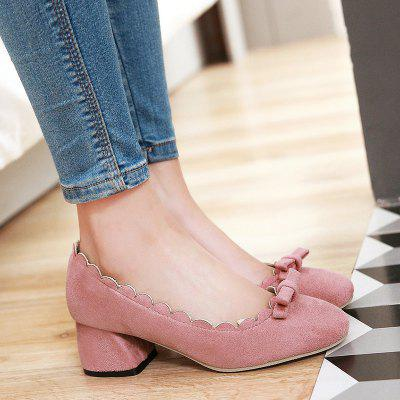 Bowknot Scallop Chunky PumpsWomens Pumps<br>Bowknot Scallop Chunky Pumps<br><br>Embellishment: Bowknot<br>Heel Height: 5CM<br>Heel Height Range: Med(1.75-2.75)<br>Heel Type: Chunky Heel<br>Occasion: Casual<br>Package Contents: 1 x Pumps (pair)<br>Pumps Type: Basic<br>Season: Spring/Fall<br>Shoe Width: Medium(B/M)<br>Toe Shape: Round Toe<br>Toe Style: Closed Toe<br>Upper Material: Suede<br>Weight: 1.2000kg