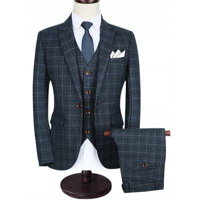 One-button Notch Lapel Plaid Business Suit