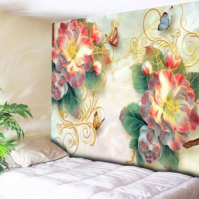Buy COLORMIX Flower Wall Art Butterfly Print Tapestry for $14.81 in GearBest store