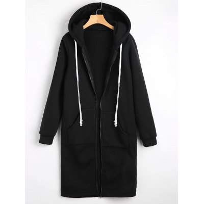 Drawstring Longline Hoodie with Pockets