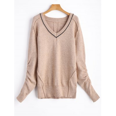 V Neck Ruched Sleeve Pullover Sweater