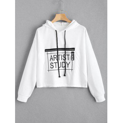 Drawstring Design Letter Graphic Hoodie